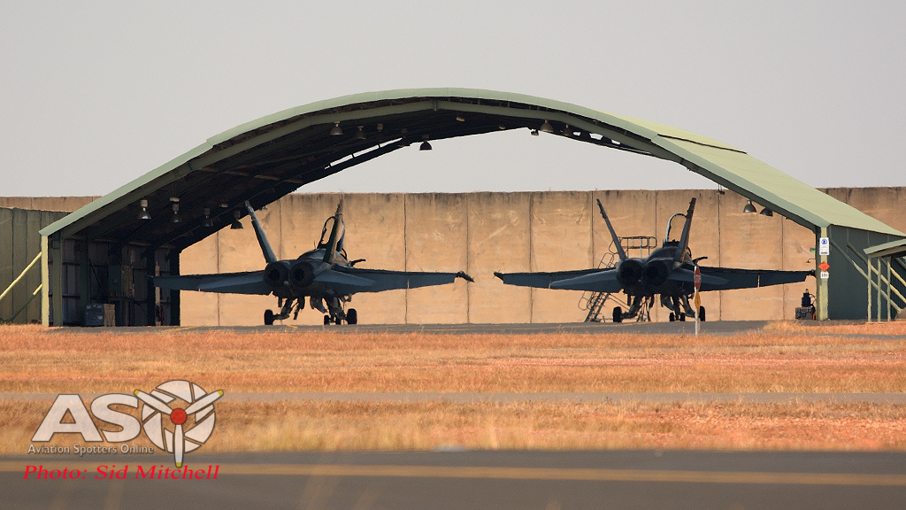 "RAAF F/A-18 Hornets under the ""carports"" RAAF Base Darwin"