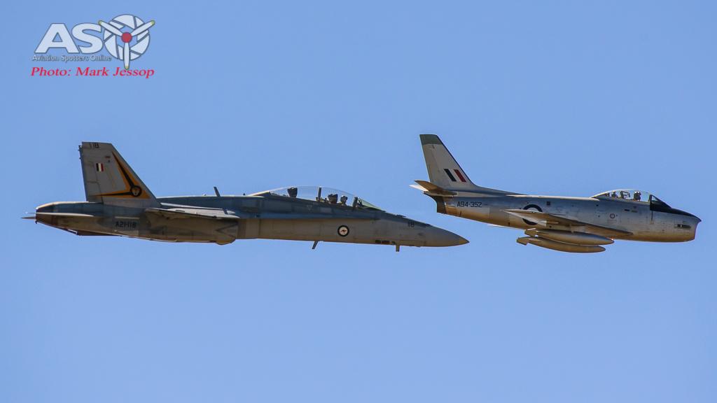 F/A-18B Hornet A21-118 2OCU & CAC Sabre A94-352.