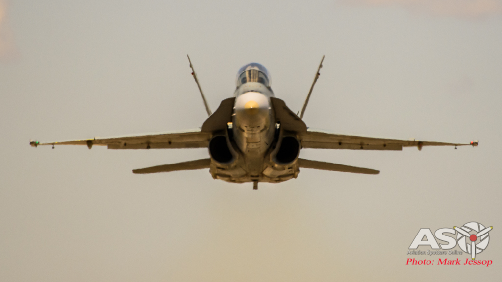 F/A-18B Hornet A21-118 2OCU blasting down the runway.