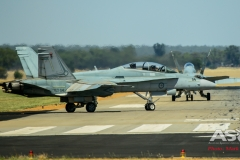 F/A-18B Hornet's A21-114 & A21-118 2OCU taxi out to leave Temora.