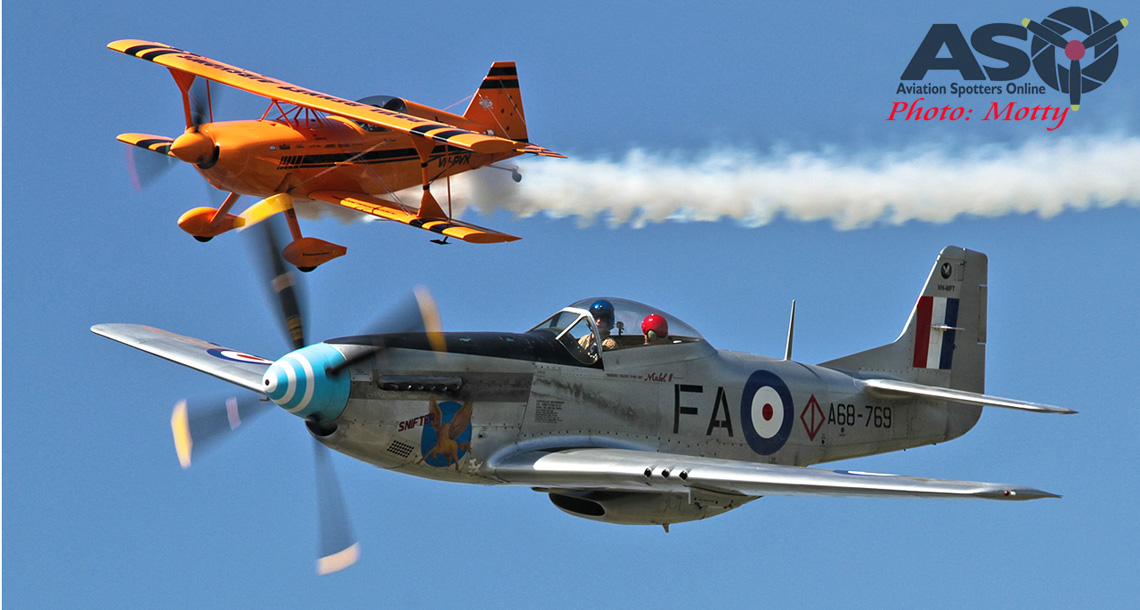 Mustang and Pitts air-to-air.