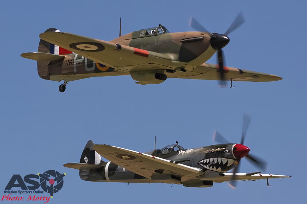 Mottys Flight of the Hurricane Scone 2 5102 Spitfire MkVIII VH-HET & Hurricane VH-JFW-001-ASO