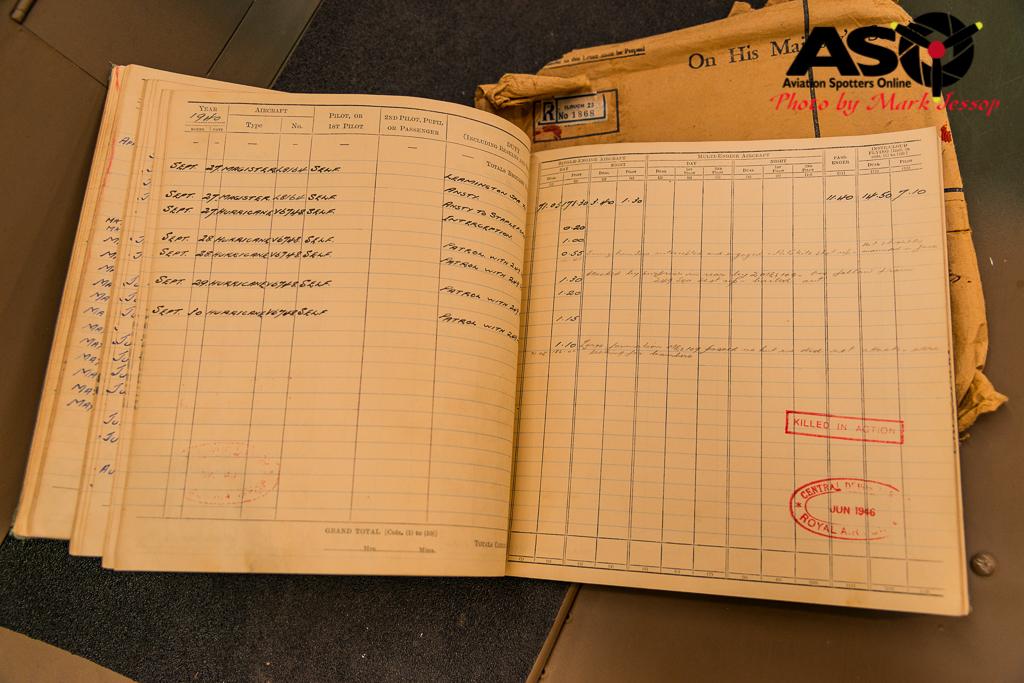 Pilot John Crossman\'s Flying Log Book.