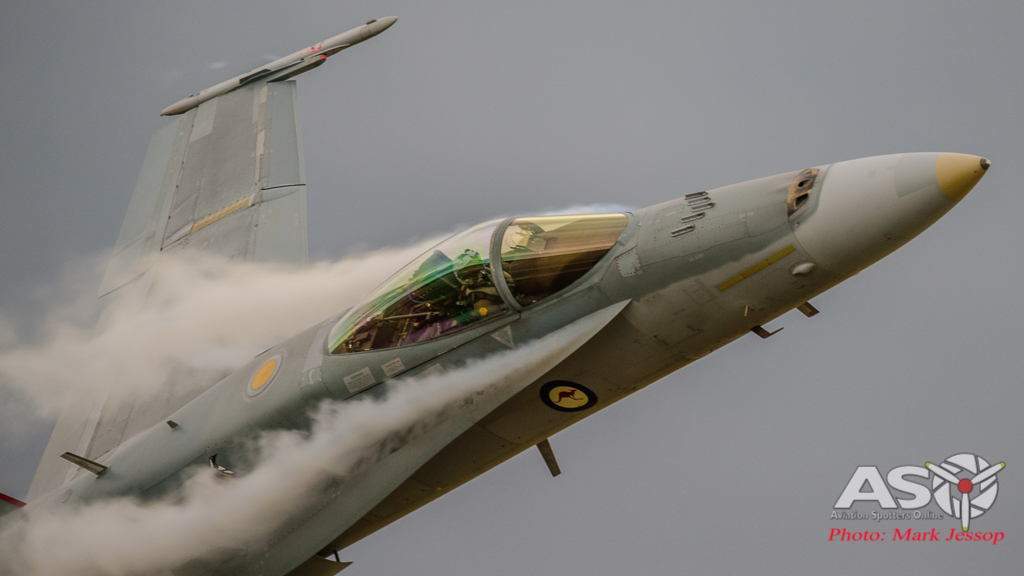 """F/A-18A Hornet A21-35 with smashing \""""ecto\"""" off the leading edge."""