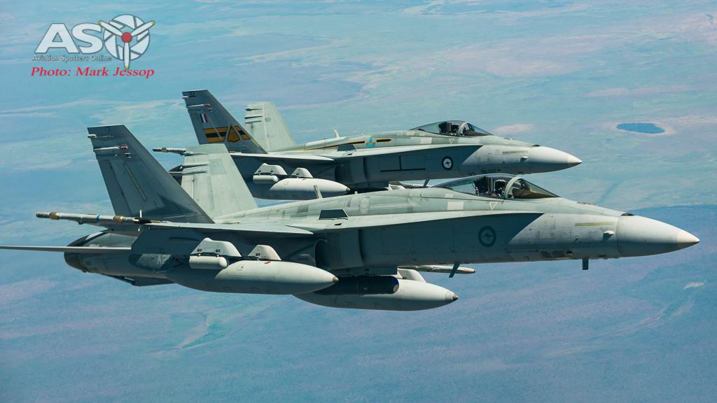 77SQN A21-7 & ARDU A21-32 F/A-18A Hornets.