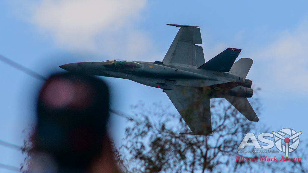 F/A-18A Hornet A21-35 going around the back of the Mountain.
