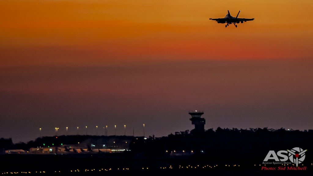 EA-18G Growler back at sunset