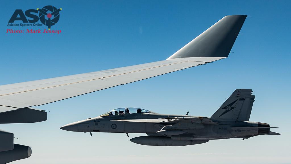 RAAF F/A-18F Super Hornet departs with after burner kicked in.