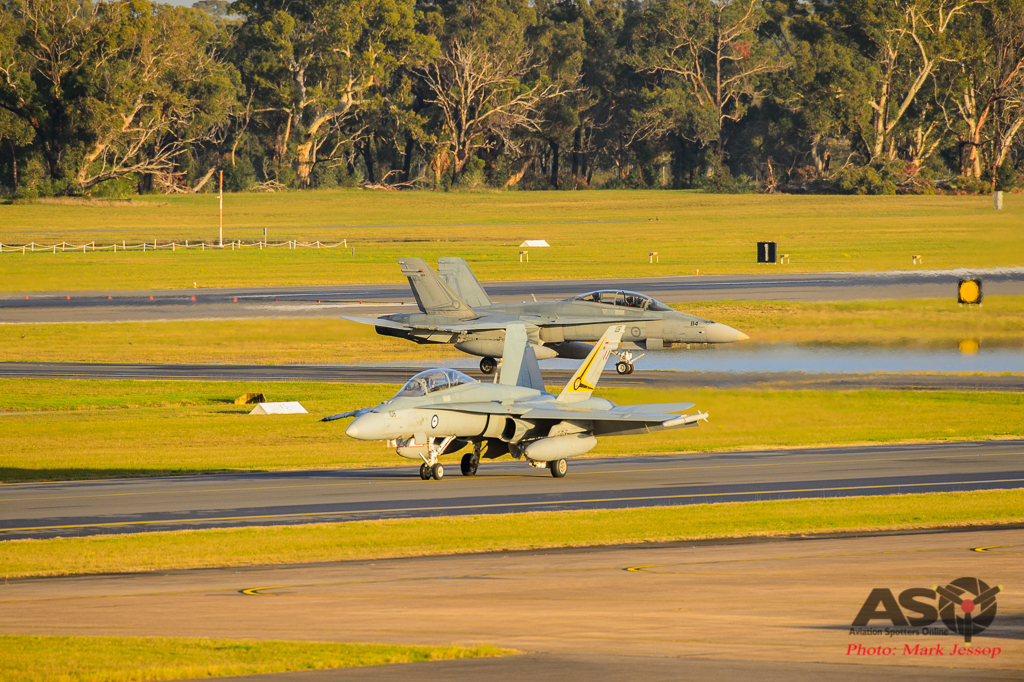 F/A-18 A21-108 & A21-114 2OCU taxing back