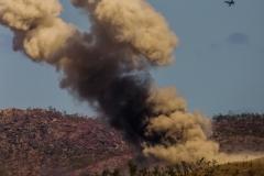 Hornet circles around the smoke plume
