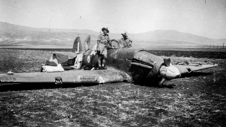 crashed Hurricanne in the desert