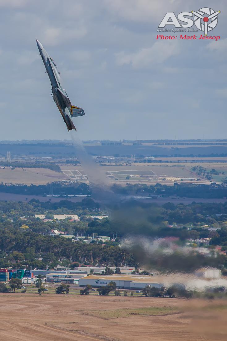 RAAF F/A-18B Hornet pulling up.