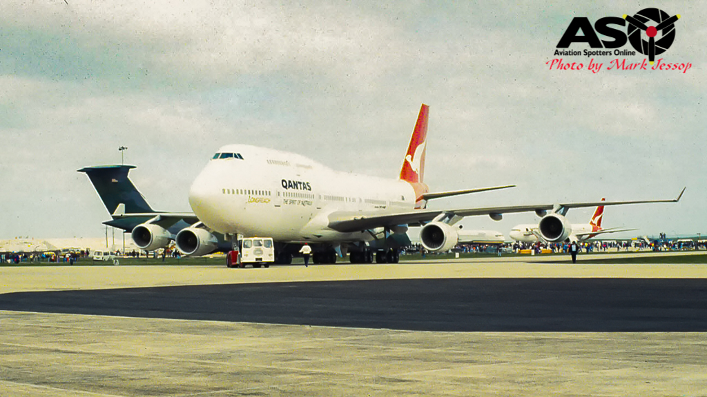 QANTAS 747 about to taxi past.