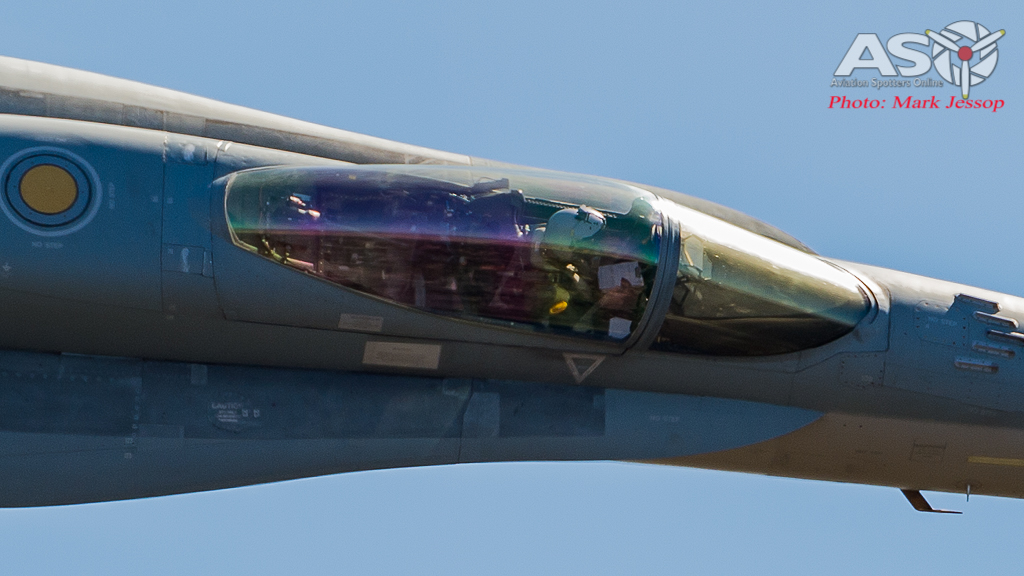 "RAAF F/A-18A  Hornet A21-16 turning right on \""Flinders Peak\"""
