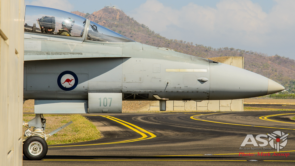 F/A-18B Hornet A21-107 taxing out for another mission.