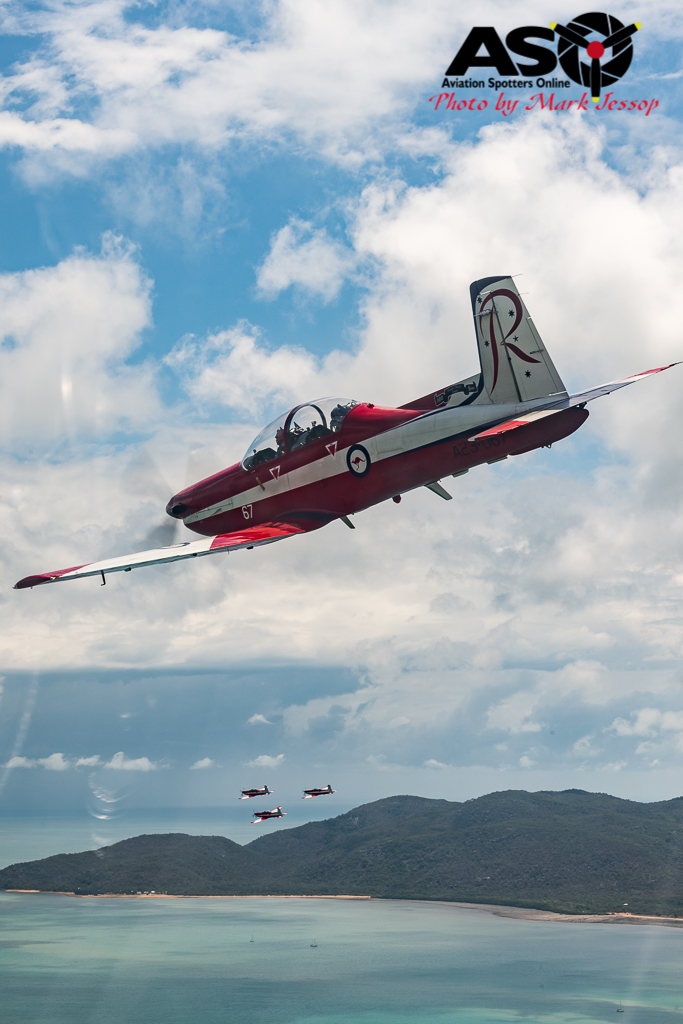 Catching up with the rest of the team, R4 in front. PC-9 A23-067.