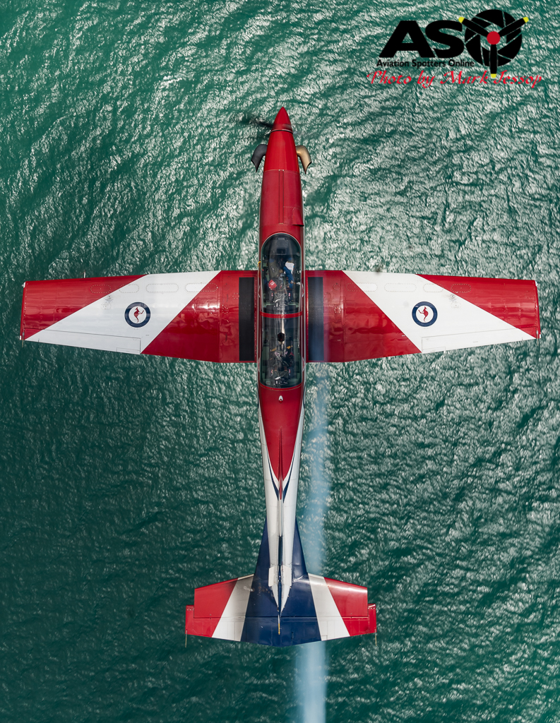"""Roulette 5 FLTLT Andrew Robinson in the """"Mirror"""". PC-9 A23-025."""