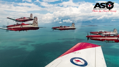 RRAAF Roulettes Air to Air flight Townsville.