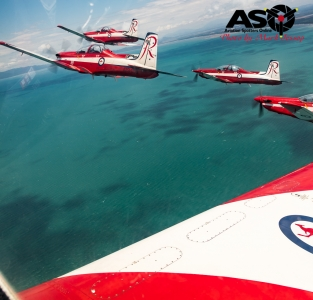 RAAF Roulettes Air to Air flight Townsville.