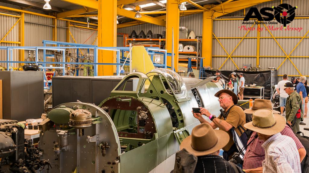 Supermarine Spitfire IX MH 603 under inspection.