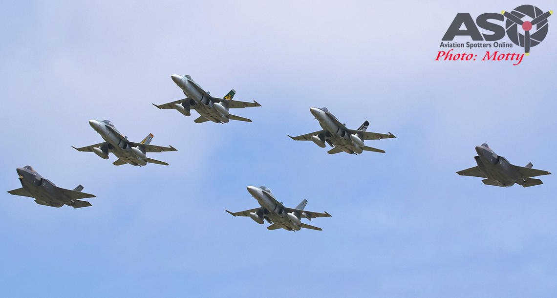 First RAAF F-35s arrive at Williamtown.